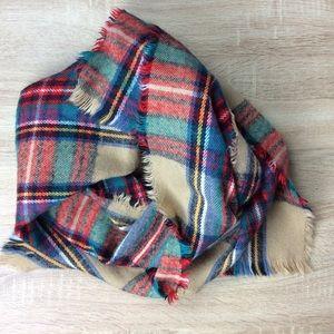 Accessories - Plaid Cozy Blanket Scarf Frayed Tassels